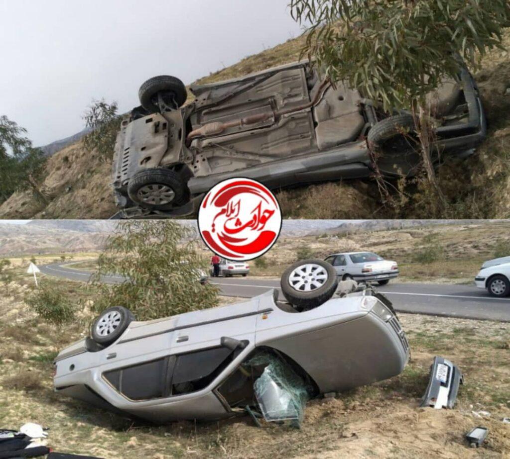 واژگونی سواری پژو ۴۰۵ در بخش زرین آباد شهرستان دهلران