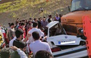 تصاویر تصادف مرگبار پژوپارس در محور بدره