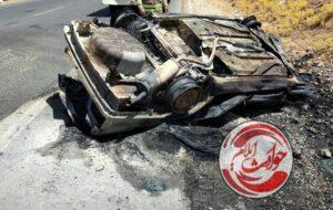 آتش سوزی سواری پژو ۴۰۵ در محور کارزان شهرستان سیروان+تصویر