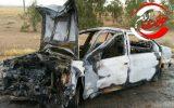 آتش سوزی خودروی سمند در جاده دهلران-اندیمشک