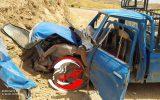 تصادف پراید با نیسان به نصف شدن خودروی پراید ختم شد