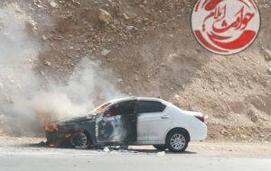 آتش سوزی یکدستگاه خودروی دنا در محور ایلام به سرابله