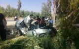 تصاویر واژگونی سواری پراید در جاده آبدانان به سراباغ