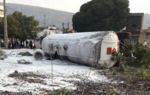 گزارش تصویری/واژگونی تریلی در شهر چوار